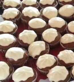 Mini Gingerbread Cupcakes with Lemony Frosting